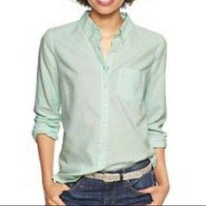 GAP Shrunken Boyfriend Oxford Shirt Mint Green